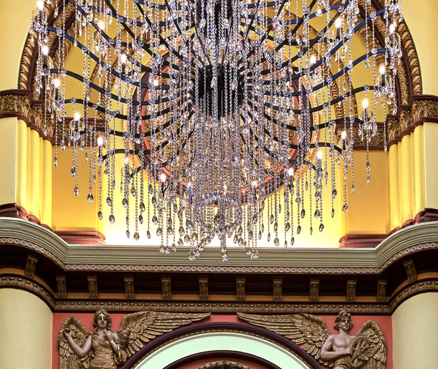 Chandelier and building artwork